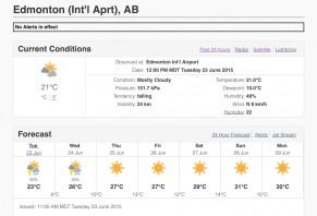 Edmonton's first week of summer ªC forecast