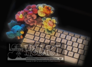 keyboard with hand-knit birdie/flowers